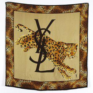YSL Rare Leopard Silk Scarf
